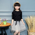 girls Splice Lace yarn dress long-sleeved girls princess tutu dresses baby children clothing Crewneck baby girl's clothes