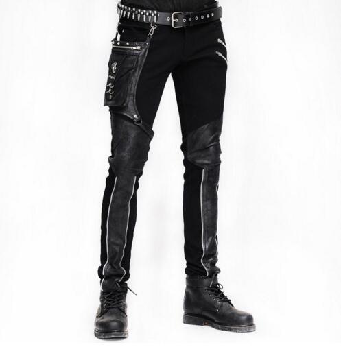 Стимпанк зима Для мужчин длинные джинсы брюки готический Высокая Талия Брюки мужские чёрный; коричневый колготки для похудения Уличная Для