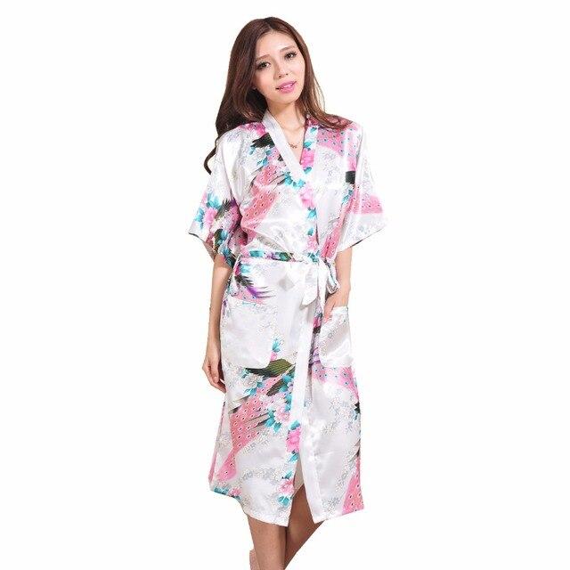 High Quality White Women s Silk Robe Gown Vintage Kimono Gown Printed  Nightdress pijamas mujer Size S M L XL XXL XXXL S001-J 1a3ee644c