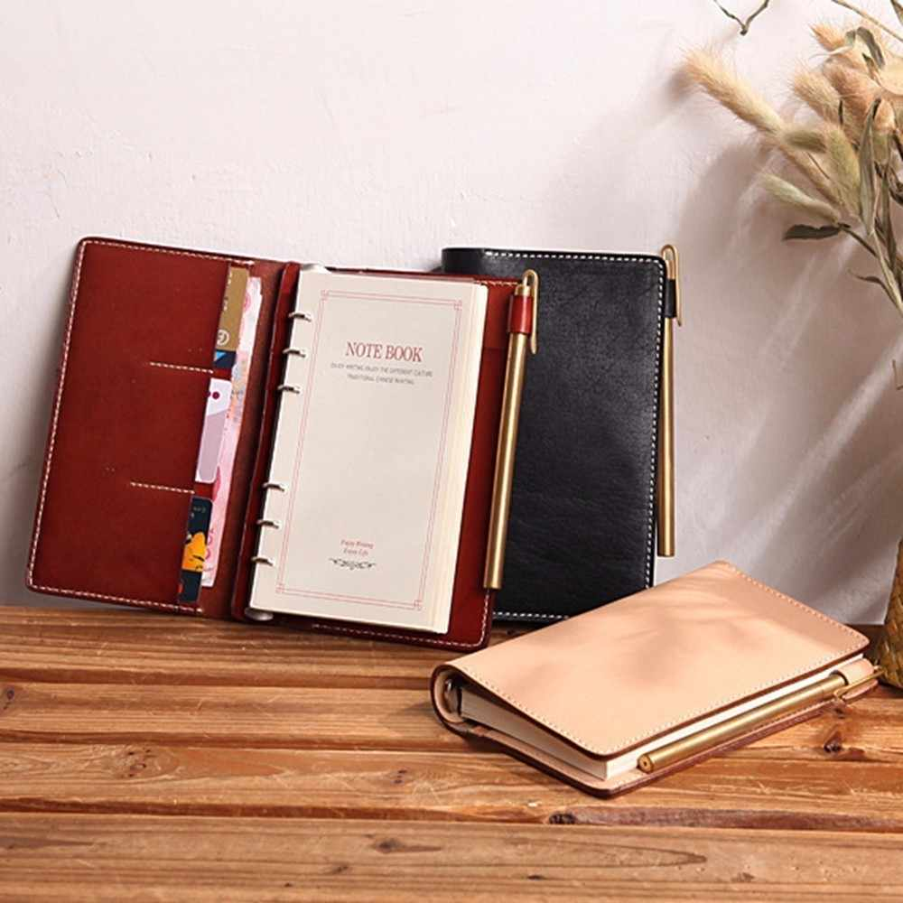 Exquisite Vegetable-tanned Leather A6 Notebook Handmade For Business Organizer planner sketchbook Vintage official stationary