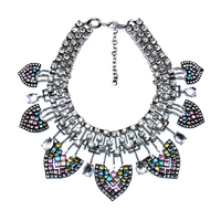 JERPVTE Women Vintage Statement Chain Choker necklace Crystal Retro Leaves pendant For Gift Party wholesale
