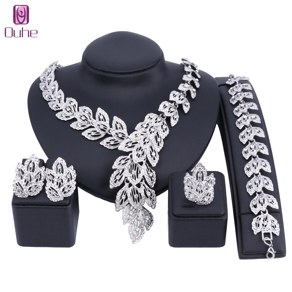 New Silver Color Nigerian Wedding African Beads Jewelry Sets Fashion Women Dubai Crystal ...