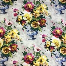 Vintage pintura al óleo digital estampado de vaso flor silla tapicería sofá sillón tejido decorativo cortina almohada tela 140cm