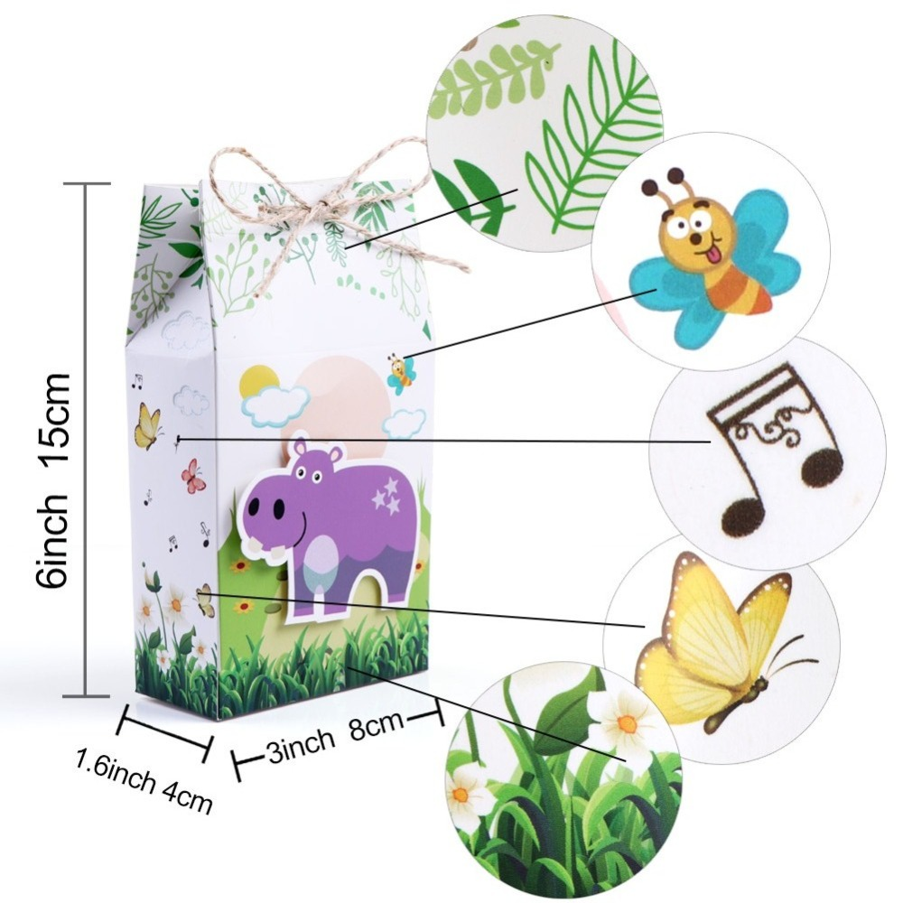 OurWarm Jungle Party Decoration Kids Birthdays Animals Balloons Banner Candy Boxes Cookies Bags Animal Kraft Paper Gift Bag in Ballons Accessories from Home Garden