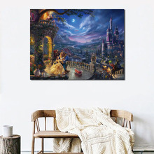 Thomas Kinkade Beauty Beast Wall Art Canvas Posters Prints Oil Painting Wall Pictures For Bedroom Modern Home Decor Accessories beauty beast movie wallpaper wall art canvas posters prints oil painting wall pictures for bedroom modern home decor accessories