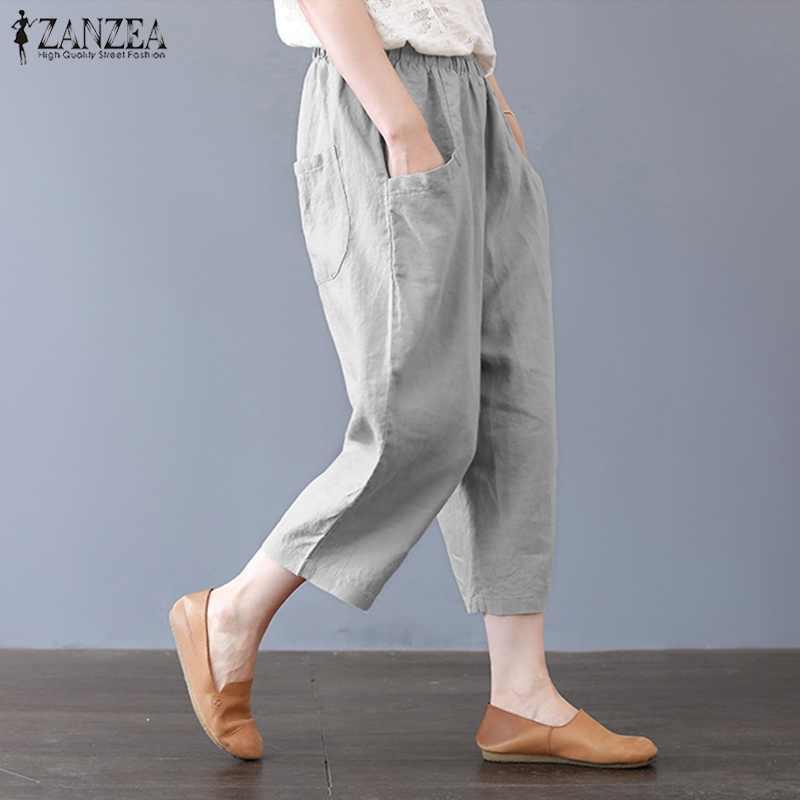 ZANZEA Women Casual Harem Pants  High Waist Elastic Solid Loose Long Trousers US