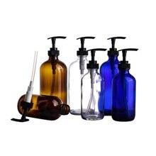 Cam Kozmetik Kapları Şişeler 240 ml Kahverengi şampuan şişesi Doldurulabilir Seyahat Duş Jeli Şişe Emülsiyon Losyon Pompası Şişe