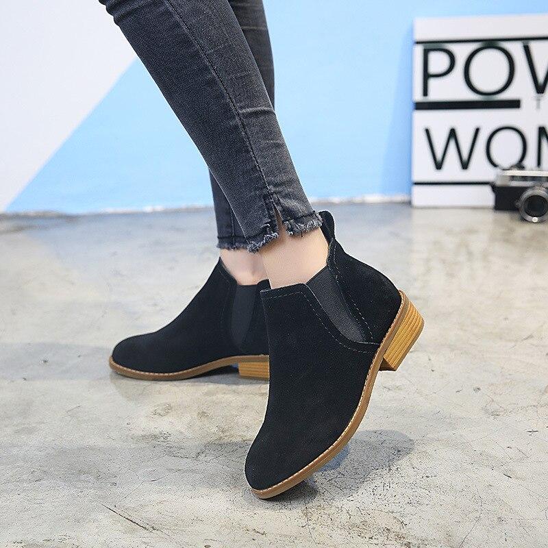Été Bottes Véritable brown green Femmes gray Dames Feminina 2018 Mode Cheville Talons Daim Plat Black Bota Nouvelle En Chaussures Cuir NOPX0wk8n