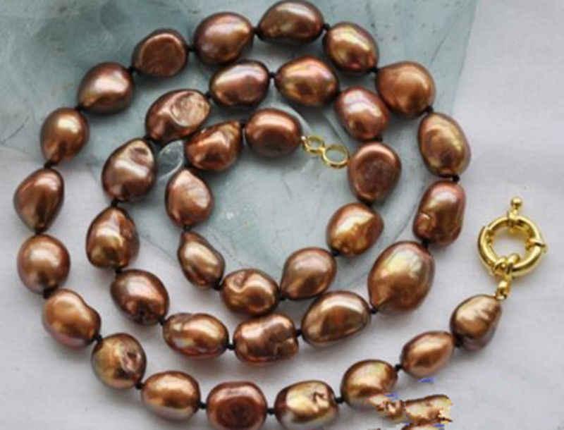 """Collar de perlas KEISHI Keshi barroco marrón inusual 34"""""""
