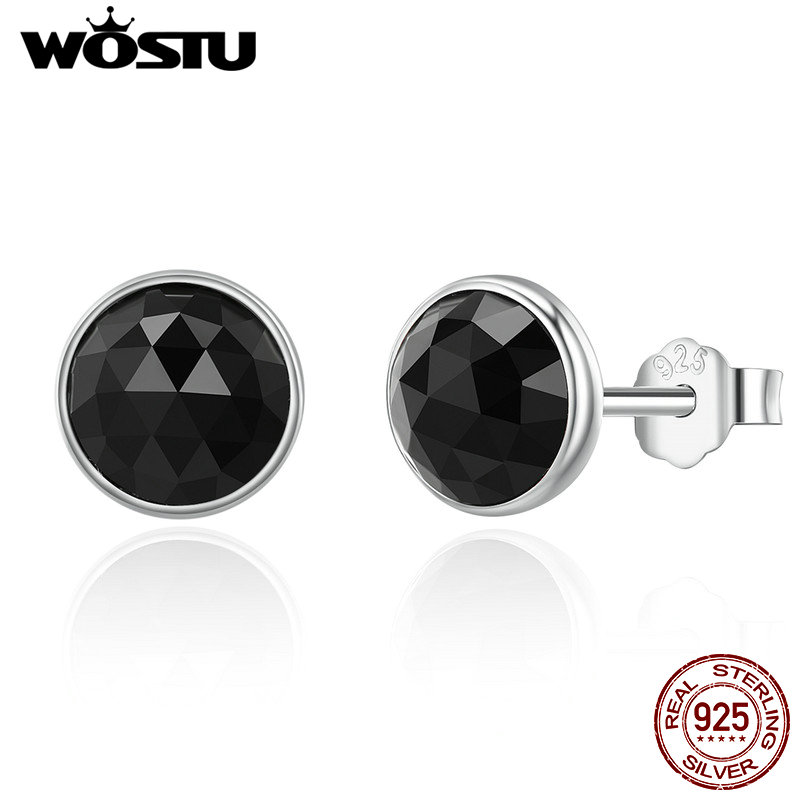 WOSTU High Quality 925 Sterling Silver June Droplet Black Stud Earrings for Women Sterling Silver Jewelry GiftWOSTU High Quality 925 Sterling Silver June Droplet Black Stud Earrings for Women Sterling Silver Jewelry Gift