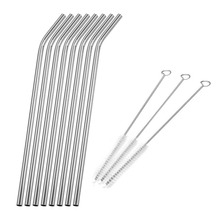 3-11pcs Metal Straws Reusable Straws Stainless Steel Drinking Straws Cleaner Brush Kit Home Party Bar Accessories Drinkware 1 2 4 6 8pcs lot reusable stainless steel drinking straw metal straight curved with 1 2 3 cleaner brush kit home bar drinkware