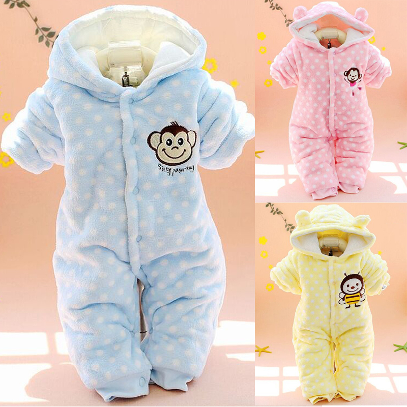 Timall Newborn Baby Boys Girls Cute Ear Design Hooded Romper Coral Fleece Warm Jumpsuit 0-12M