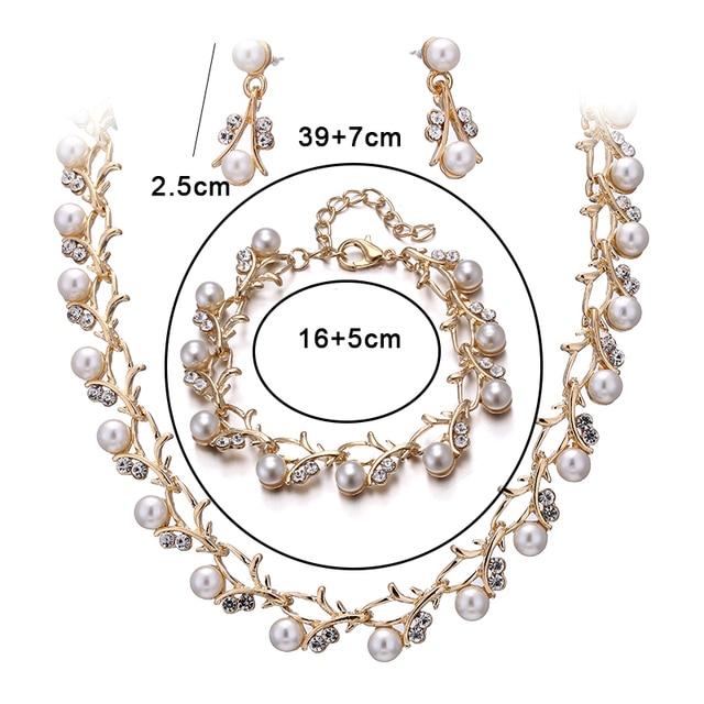 Jiayijiaduo Hot Imitation Pearl Wedding Necklace Earring Sets Bridal Jewelry Sets for Women Elegant Party Gift Fashion Costume 5
