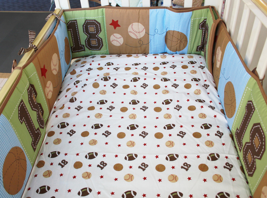 5pcs Embroidery Baby Bed Around Piece Set 100% Cotton Baby Bedding Kit Autumn Winter Baby Cot Set ,include (4bumper+bed Cover)
