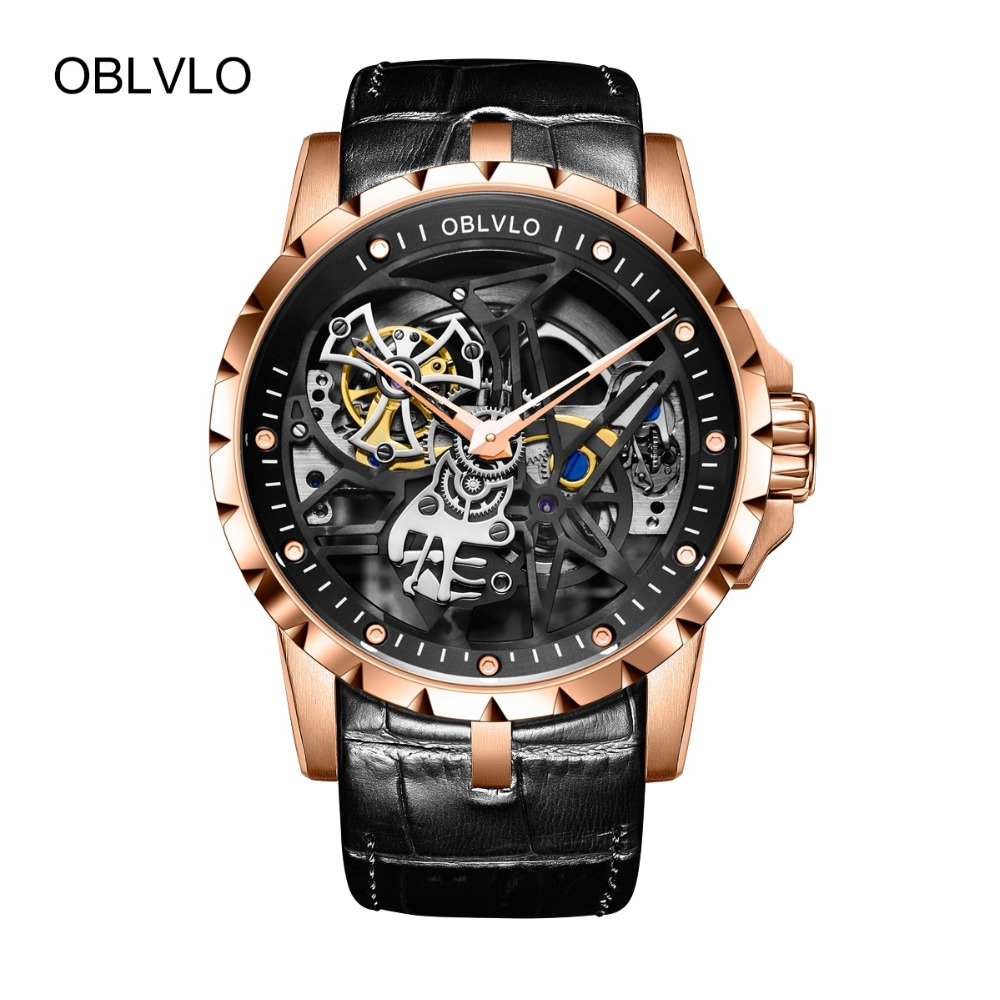 OBLVLO Brand Designer Casual Watches Mens Genuine Leather Strap Rose Gold Skeleton Automatic Watches RM-1