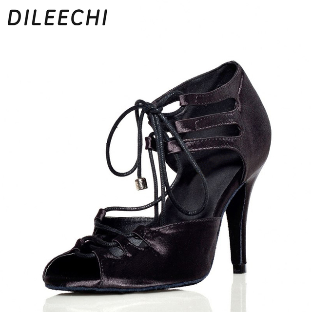 DILEECHI Red Black Zebra satin Latin dance shoes women ballroom dancing  shoes wide  narrow foot Salsa high-heel 10cm heel height dd0e4495aadb