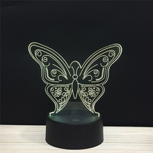 Butterfly love elf LED 3D Night light 16 colors USB Button Acrylic optic lights decor Nights lamps kids gifts for baby child ELF