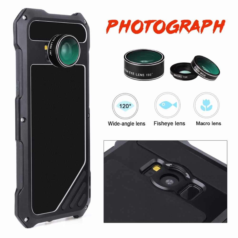 cover For samsung galaxy s7 s7edge case Fisheye Wide lensmetal protective shell for galaxy s8 s8 plus Anti drop dust and water