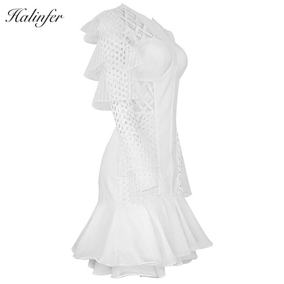 Vestidos Bandage Cou Sexy Blanc 2018 Halinfer Nouvelles Femmes Chic Soirée O D'été Évider Robe Mini Robes Moulante wFUaqxSUn