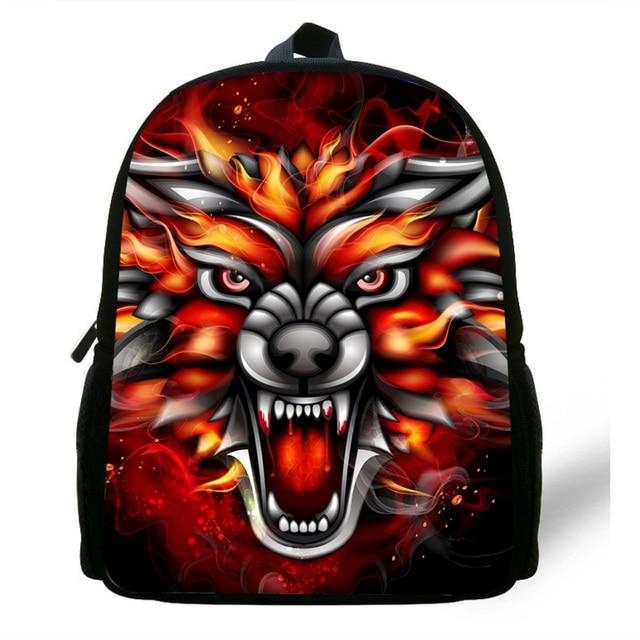 9613a7c45743 12-Inch Hot Kids Animal Backpack For Preschool Girls Boys Wolf Head Print  Backpack For Children Beast Bag For Baby Kindergarten