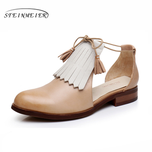 Image 5 - Sandálias femininas plana couro genuíno brogues yinzo senhoras apartamentos sandálias amarelas sapatos mulher vintage oxford sapatos para mulher 2020