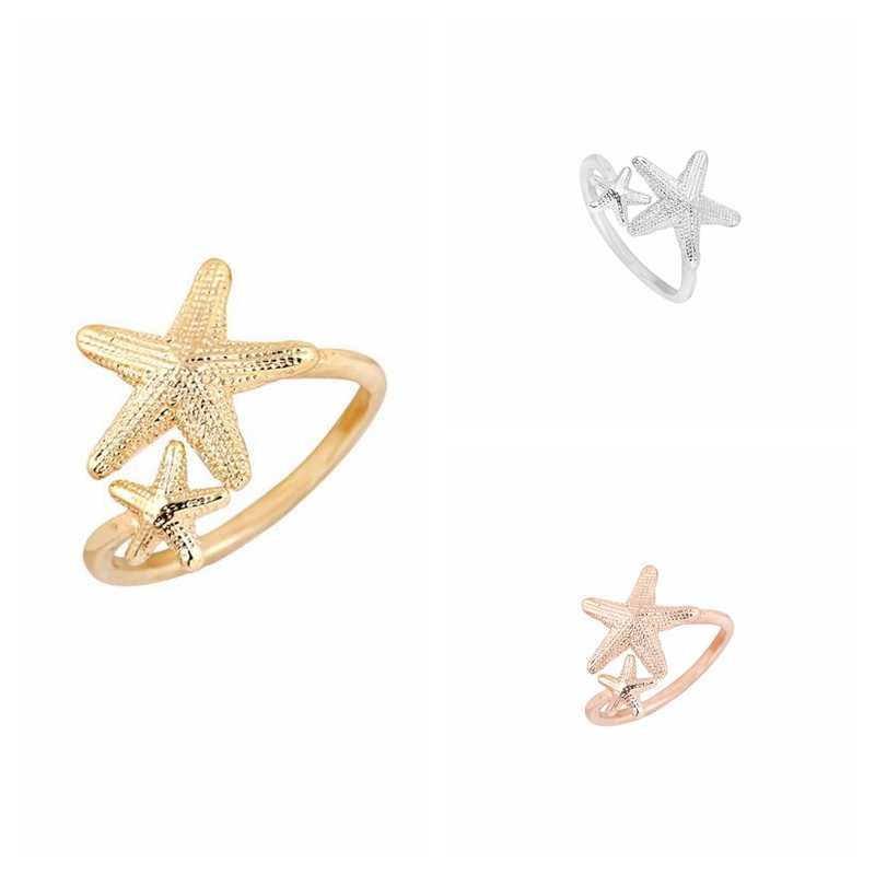 Oly2u 2017 New Fashion Ring Open Twinkle Stretch Star Ring Nautical Beach Starfish Rings for Women Birthday Gifts -R165