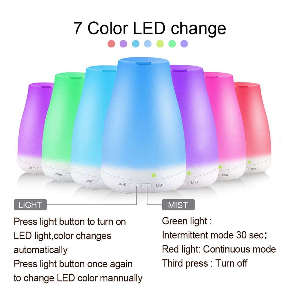 100ML Ultrasonic Humidifier Aromatherapy Oil Diffuser Cool Mist With 7 Color LED Lights Essential Oil Diffuser Waterless Auto Of