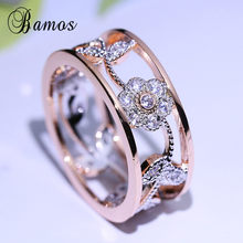 Bamos Exquisite Flower Wedding Rings For Women Fashion Rose Gold Color Jewelry Luxury Cubic Zirconia Ring 2018 Mother's Day Gift(China)
