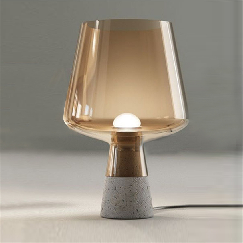 Modern Cement Base Glass Table Lamps Lampshade 25x38CM Cement for Bedroom Living Room Modern Fashion Design Table Lights Creativ