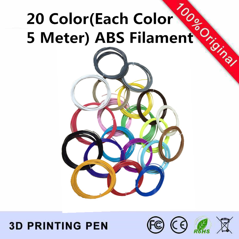 3D Printer Pen material 1 lot 20 colors 5M ABS filament material Package ABS Filament 1
