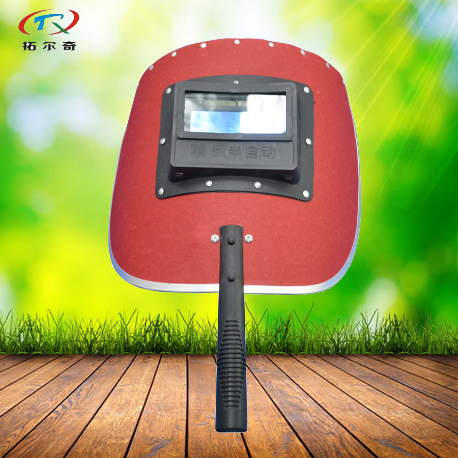 Welding Helmet auto darkening Red Hand hold Full Automatic Welding Mask Waterproof Inner Lithium Cell and Solar Power SA03-1100