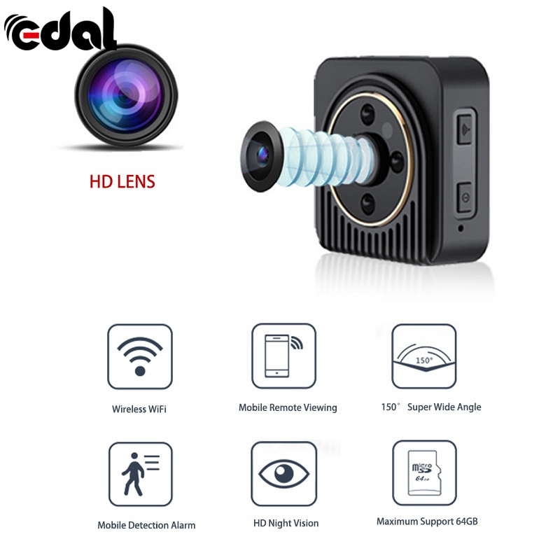 EDAL 1080P Mini Camera 13MP Wifi Infrared Night Vision 150 Degree HD Sport Digital Micro Cam Detection Camcorder Recorder