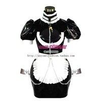 Sexy Sissy Maid Pvc Bloqueável Vestido Uniforme Cosplay Tailor-made