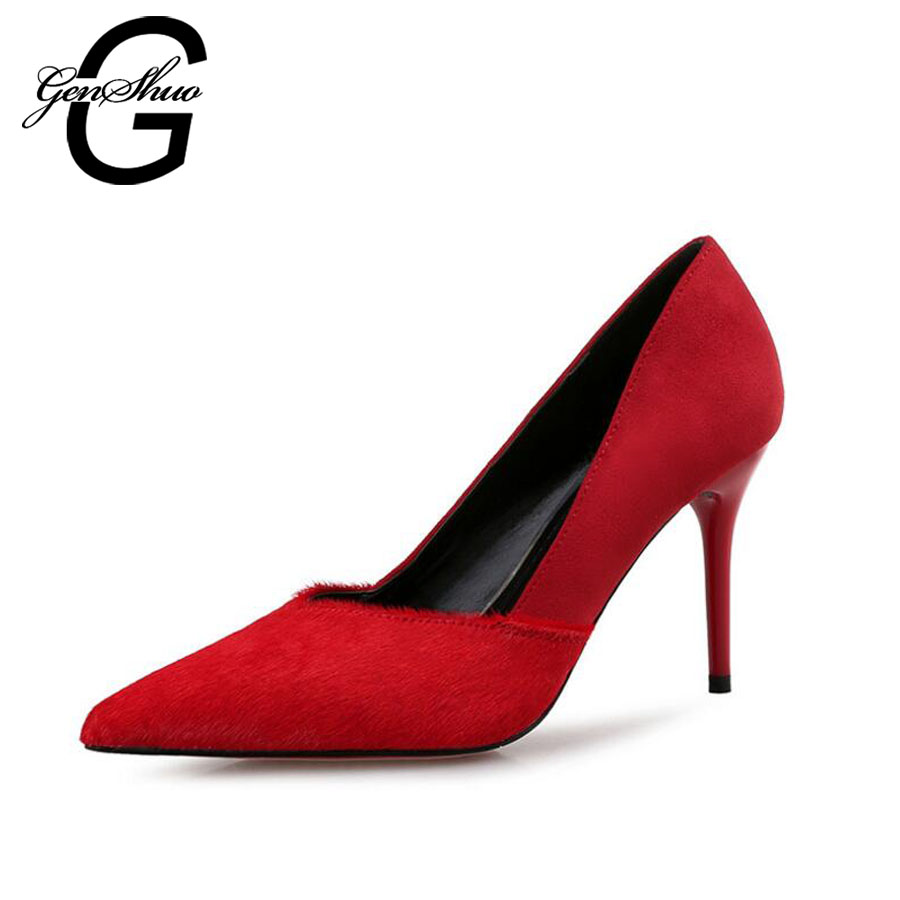 GENSHUO 2017 Patchwork Pointed Toe Thin Summer Female Simple Women's pumps Stitching leather horsehair High Heels Shoes female summer european style stitching sequins pointed personality gradient color with ultra thin high heeled shoes
