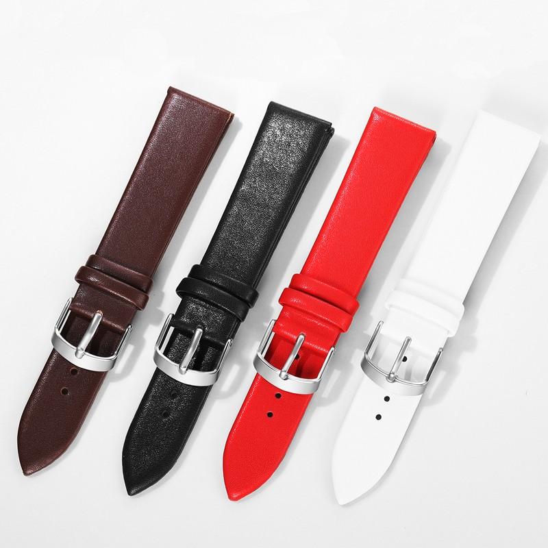 Watch Bands PU Leather Watch Strap Stainless Steel Buckle Clasp Watch Belt 12,14, 16,18,20,22mm Watch Accessories Wristband