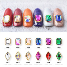 100pcs/ Lot Gold 3d Metal Alloy Crystal AB Rhinestones 12 Colors Nail Art Decorations Charms Diamond For Nails Designs