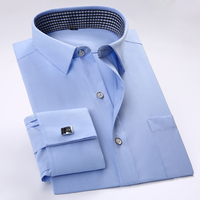 2016 Men S Solid Color French Cuff Dress Shirts Cufflinks Included Long Sleeve Classic Fit Square