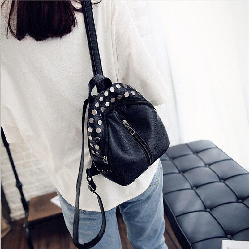 Women Backpack Girls Knapsack School Bags for Teenagers Girls Studs Rivet Black Leather Rucksack Small Travel