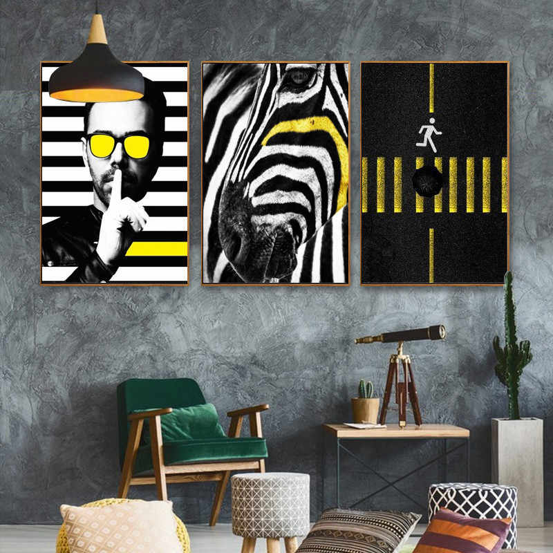 Zebra Line Sign Minimalist Black White Poster Nordic Canvas Painting Home Decor Wall Print Art Office Living Room Picture DIY