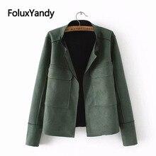 Women Jackets Suede Plus-Size Outerwear Coats Short-Style Casual XXXL Solid SWM1205 Open-Stitch