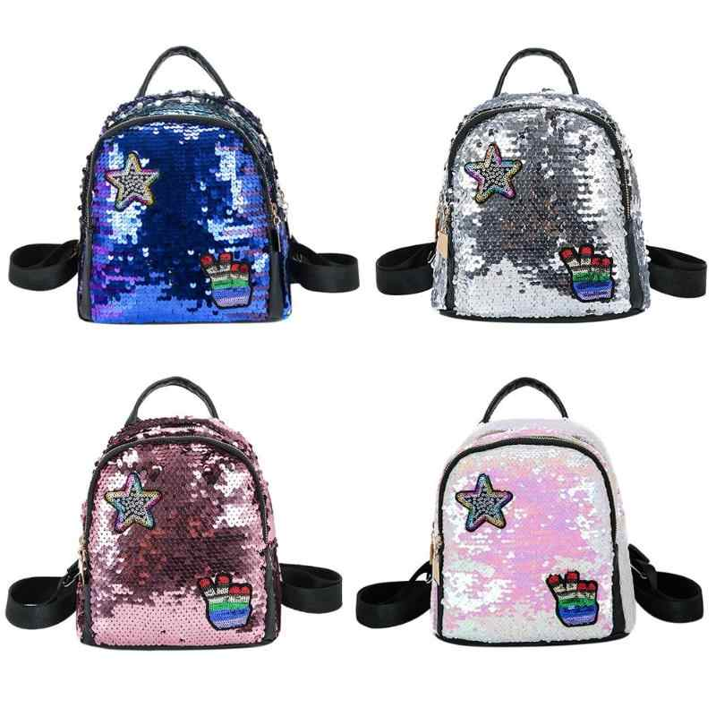 303cad45a845 Mini Shining Sequins Backpack Teen Girls Mini Travel Shoulder Bags for Children  Female Casual Lovely Bling