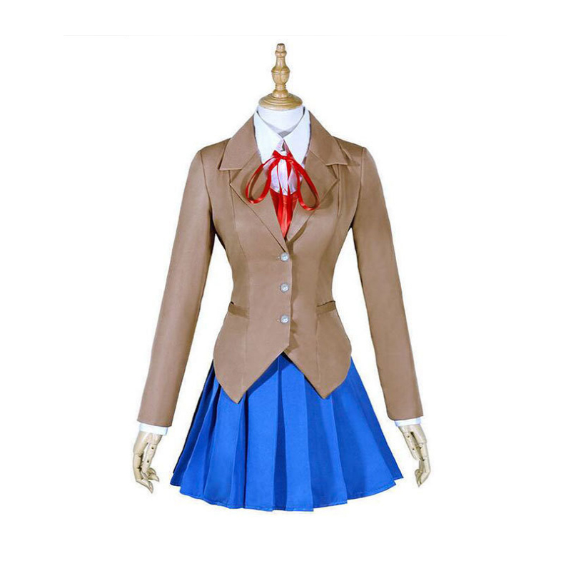 Doki Doki Literature Club Natsuki Monika Yuri Sayori Girls Women School Uniform Cosplay Costume Halloween Party Dress