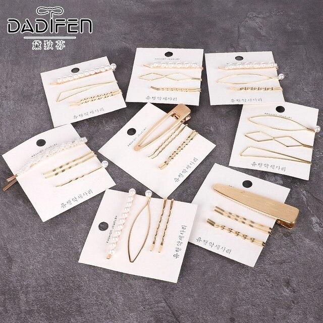 Coreano INS 3 piezas conjunto de perlas geométricas mujeres horquilla Snap Barrette horquilla horquillas para niñas accesorios para el cabello