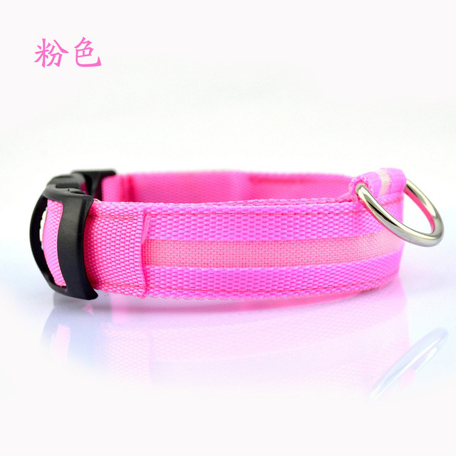 Nylon LED Pet dog Collar,Night Safety Flashing Glow In The Dark Dog Leash,Dogs Luminous Fluorescent Collars Pet Supplies 5