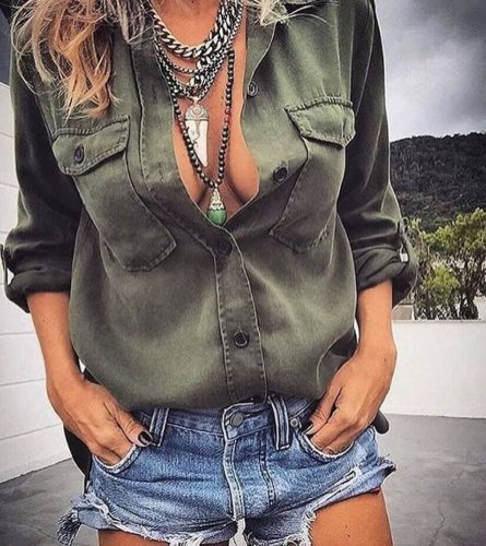 Women Pocket Blouse Tops Long Sleeve Army Green