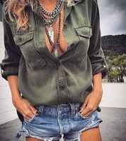 Women Pocket Blouse Tops Long Sleeve Army Green Shirts Casual Blouse Loose shirt Summer Clothes