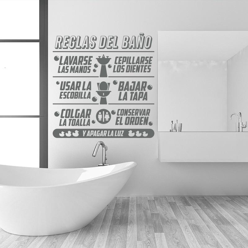 Art Design Zasady łazienki w języku hiszpańskim Cytat Naklejka - Wystrój domu - Zdjęcie 2