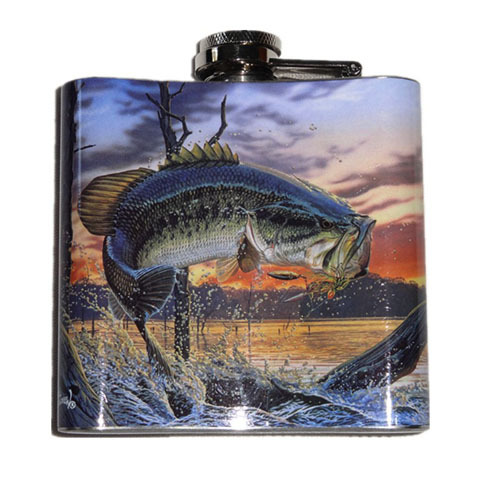 Hip Flask Largemouth Bass Full Color – 6 oz