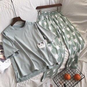 Image 2 - 2019  New Women Pajama Set Soft Cat Cartoon Printing Pijama Home Pyjamas Ladies Cotton Pyjama Set Sleepwear