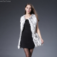 2018 Real Fur New Patchwork Free Shipping Real Genuine Natural Rabbit Fur Vest Female Women Coat Design Waistcoat Low Big Size